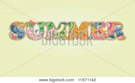 Decorative Summer Text with Transparency and Rainbow Colors