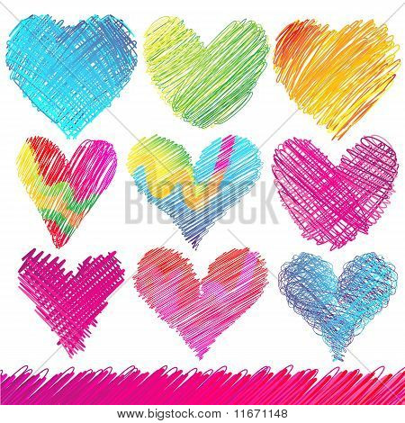Design set: Colorful Valentine's Day Hearts