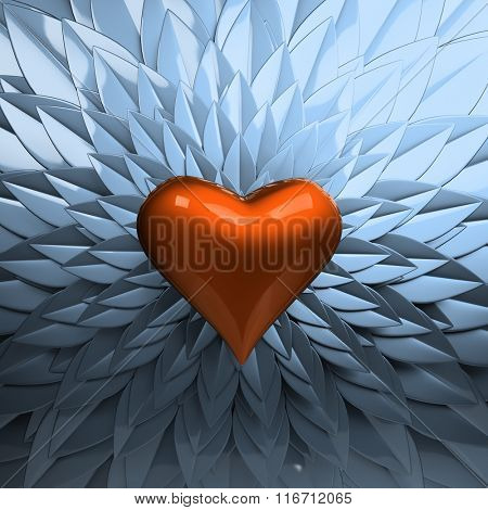 Blue petals with heart shape.Valentine's day concept