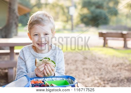 Schoolkid Eating Lunch