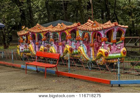 Children's attraction - the train, for entertainment in central park  in Targu-