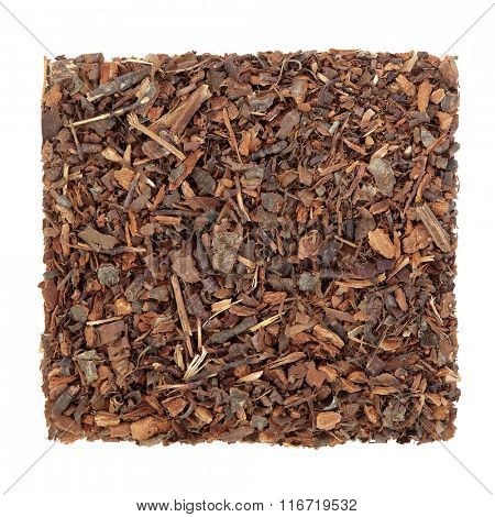 Wild cherry bark herb used in natural alternative medicine over white background.  Cerezo silvestre.