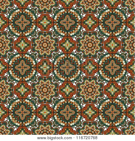 Seamless Tiled Pattern Royal Luxury Classical Damask Vector Design. Brown Bright Background.