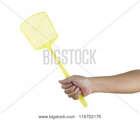 Hand Holding Flyswatter