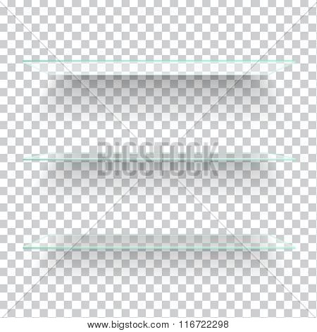 Realistic transparent glass shelves on light grey background. Vector eps10 illustration