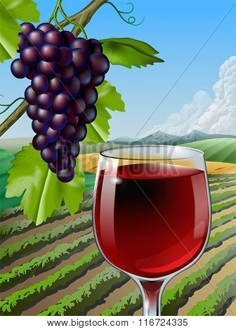 Glass of red wine and some grapes over a rural landscape. Vector illustration.