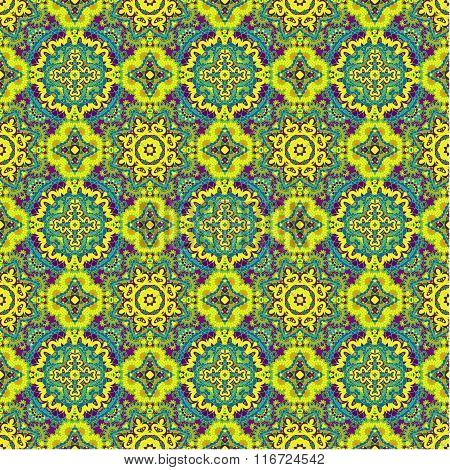 Colorful Lace Pattern With Ornate Elements. Yellow Blue Abstract Background.