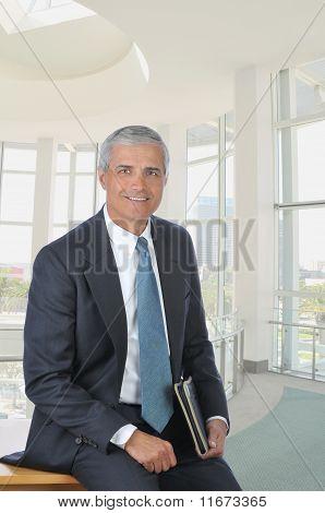 Businessman Sitting On Desk With Folder