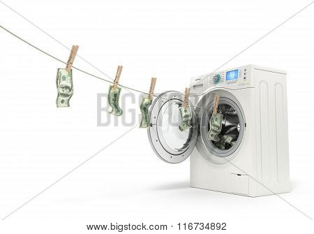 Concept Of Money Laundering, Money Hanging On A Rope Coming Out Of The Washing Machine
