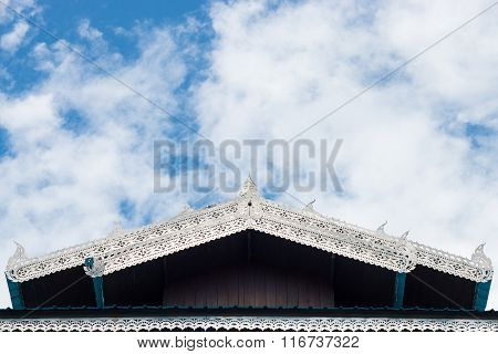 Gable Apex On The Top Roof In Thai Temple