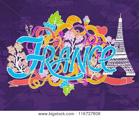 France art abstract hand lettering and doodles elements background. Vector illustration for colorful