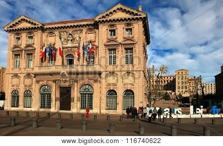 France, Marseille -november 19, 2015: The City Hall In Marseille.  Old Port (vieux-port).