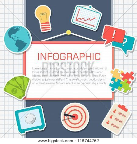 Business comerce elements on white background poster in sticker style design. Vector illustration te