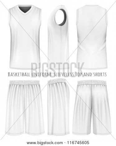 Basketball uniform: sleeveless top and shorts. Front, back and side views. Vector illustration. Fully editable handmade mesh.