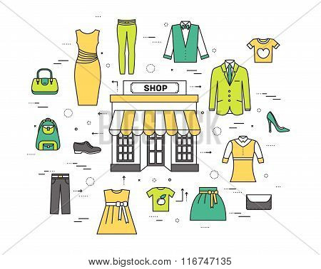 Thin line fashion clothing modern illustration concept. Infographicthings that you can buy in the bo