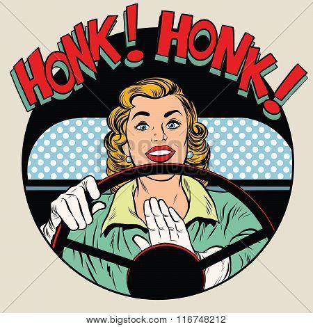 honk vehicle horn driver woman