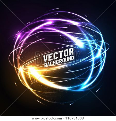 Shere of meteor-like shining neon lights in impact. Futuristic technology style. Vector illustration