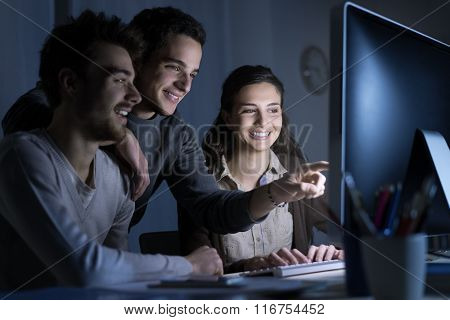 Teenagers Studying Late At Night