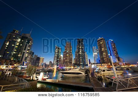 DUBAI, UAE - Dec 4 : A skyline view of Dubai Marina showing the Marina and JBR on Dec 4, 2013 in Dub