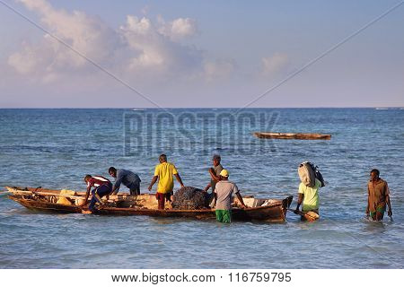 Boats On The Indian Ocean Off Nungwi