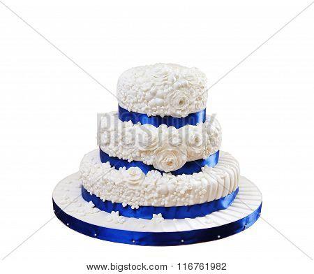 Beautiful Three-layer Cake Isolated On White Background