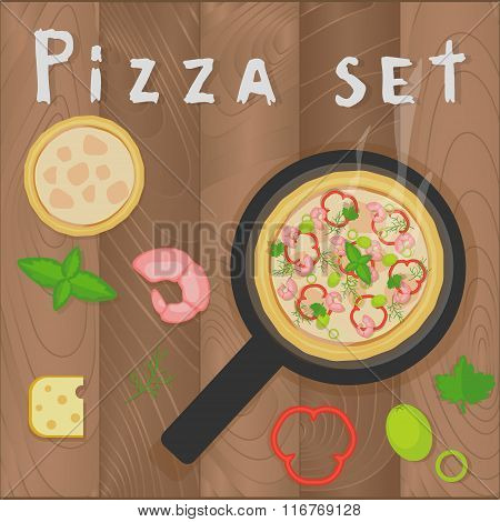 Vector pizza marinara set on wooden background in flat style. Pizza ingredients shrimps pepper basil