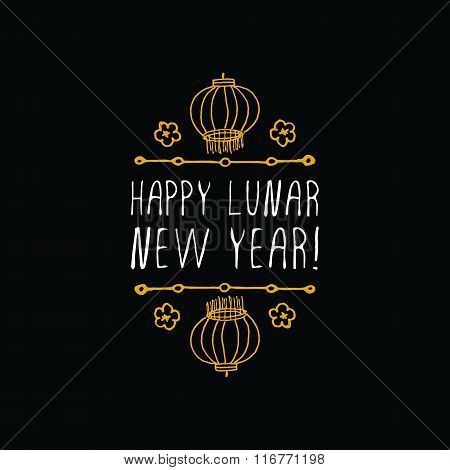 Chinese New Year hand drawn greeting card