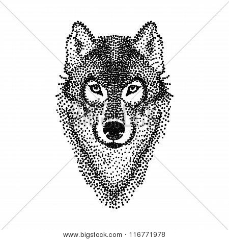 Dotwork tattoo design stylized Wolf face. Hand Drawn doodle vect