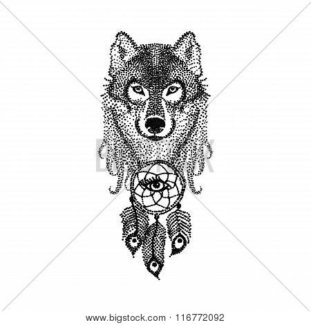 Dotwork tattoo design stylized Wolf face with dream catcher. Han