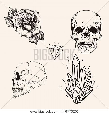 Hand drawn set sketch scull tattoo line art. Vintage vector illu