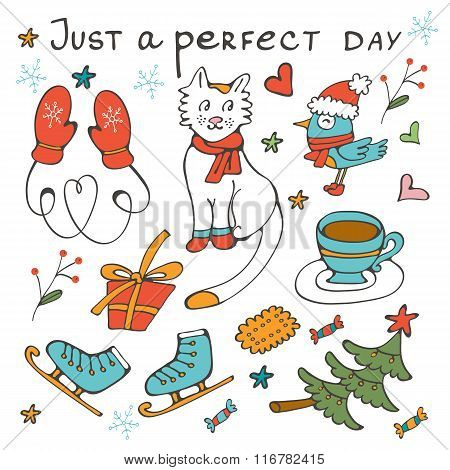 Just a perfect day concept card with winter related graphics