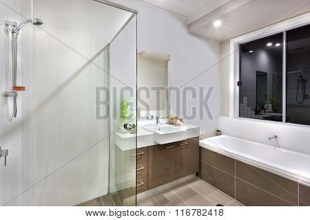 New Bathroom With Washing Area Including Bath Tub