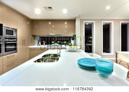 Closeup Of A White Cermic Countertop In A Modern Kitchen Interior