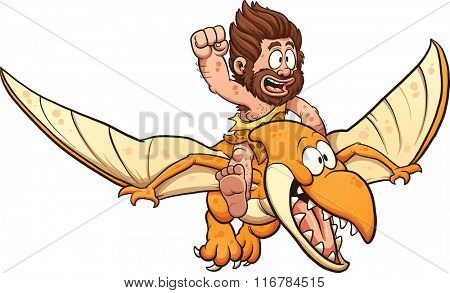 Cartoon caveman riding a pterodactyl. Vector clip art illustration with simple gradients. All in a single layer.