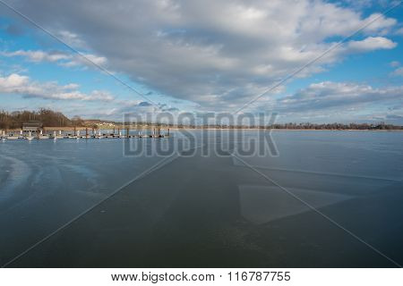 New Build Wooden Brige On Frozen Lake Chiemsee