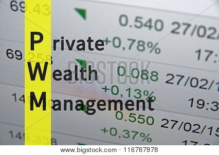 Acronym PWM as Private Wealth Management. Business illustration. poster
