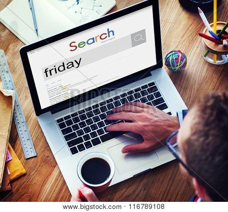 Friday Schedule Agenda Timetable Weekday Work Concept poster