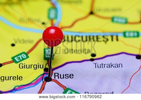 Ruse pinned on a map of Bulgaria