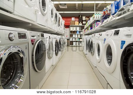 Moscow Russia - February 02. 2016. Washing machine in the Eldorado large chain stores selling electronics and household appliances