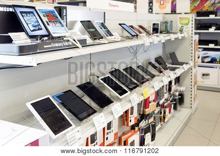 Moscow Russia - February 02. 2016. Tablet PC in Eldorado large chain stores selling electronics