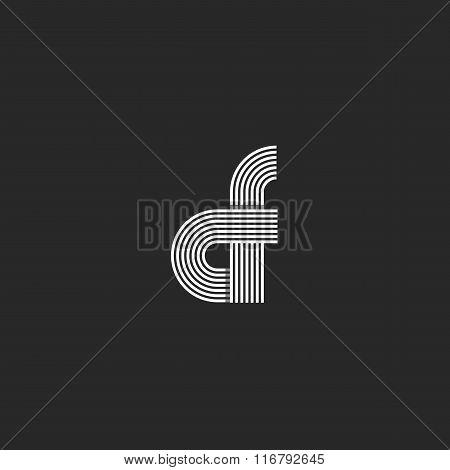 Combination Letter Cf Logo Monogram, Pair C F Offset Line Geometric Shape Symbol, Creative Idea Grap