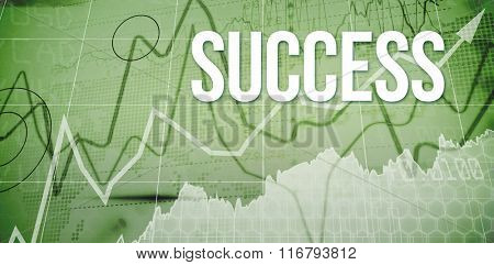 The word success and stocks and shares against stocks and shares on black background