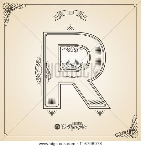 Calligraphic Fotn with Border, Frame Elements and Invitation Design Symbols. Collection of Vector glyph. Certificate and Decor Design Elements. Hand written retro feather Symbol. Letter R