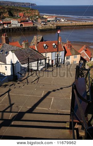 Looking Down The 199 Steps At Whitby
