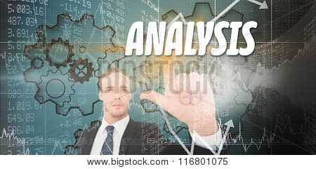 The word solution and unsmiling businessman in suit pointing up his finger against stocks and shares