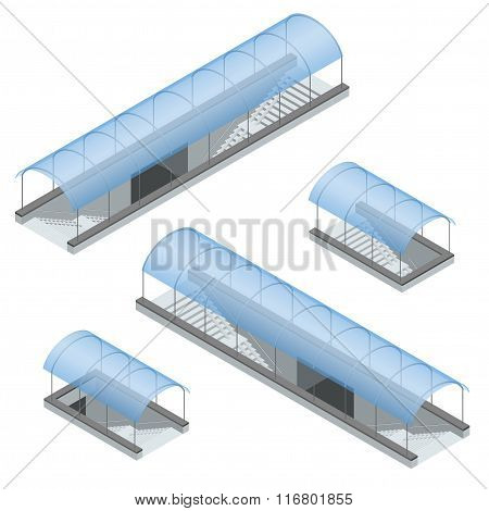 Isometric pedestrian subway under the highway. Underground passage