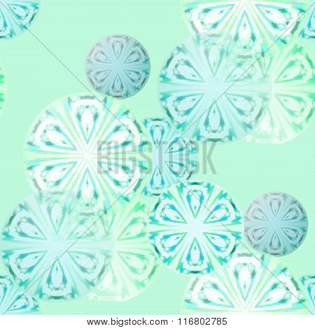 Seamless circle pattern turquoise blue green