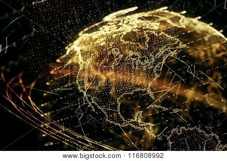 3d illustration of detailed virtual planet Earth. Shallow DOF