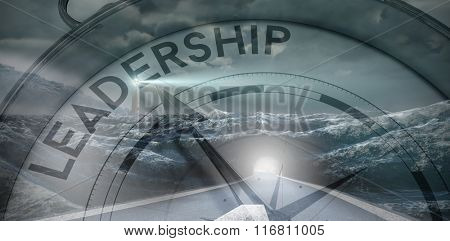 Compass pointing to leadership against headlight road landscape
