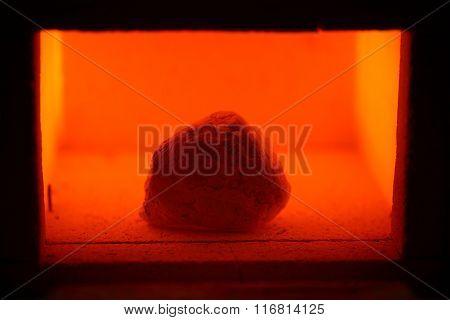Muffle Furnace With A Limestone Rock